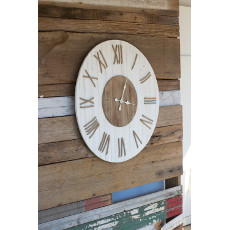 White Washed Wooden Clock with Rope Number