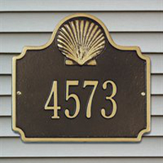 Scallop Shell Address Plaque - One Line