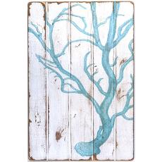 Coral Light Blue Floorboard Art