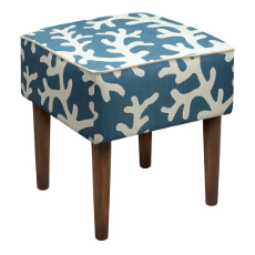 Coral Linen-Upholstered Stool