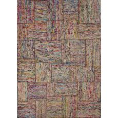 Contemporary Patchwork Pattern Multi Recycled Area Rug (6.2X9.6)