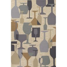 Indoor/Outdoor Abstract Pattern Natural/Gray Polypropylene Area Rug (7.6X9.6)