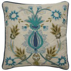 "Modern/Contemporary Pattern Ivory/Green Cotton Down Fill Pillow ( 18""X18"")"