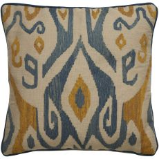 """Modern/Contemporary Pattern Ivory/Blue Cotton Down Fill Pillow ( 18""""X18"""")"""