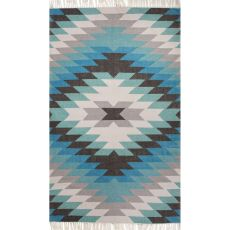 Indoor/Outdoor Tribal Pattern Blue/Green Polyester Area Rug (9X12)