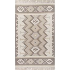 Indoor/Outdoor Tribal Pattern Ivory/Neutral Polyester Area Rug (8X10)