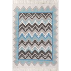 Indoor/Outdoor Tribal Pattern Blue/Gray Polyester Area Rug (8X10)