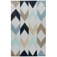 Contemporary Tribal Pattern Blue/Gray Polyester Area Rug ( 8X10)