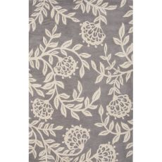 Contemporary Floral & Leaves Pattern Gray Polyester Area Rug (7.6X9.6)