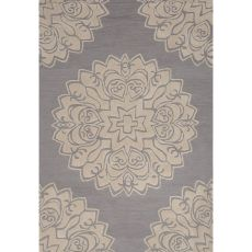 Contemporary Medallion Pattern Gray Polyester Area Rug (7.6X9.6)