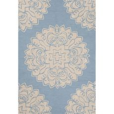 Contemporary Medallion Pattern Blue Polyester Area Rug (7.6X9.6)