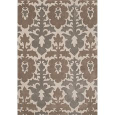 Contemporary Damask Pattern Taupe/Tan Polyester Area Rug (7.6X9.6)
