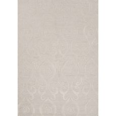 Contemporary Damask Pattern Ivory/White Polyester Area Rug (7.6X9.6)