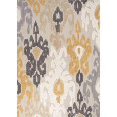 Contemporary Damask Pattern Yellow/Dark Gray Polyester Area Rug (7.6X9.6)