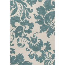 Contemporary Damask Pattern Blue/Ivory Polyester Area Rug (7.6X9.6)