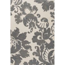Contemporary Damask Pattern Gray/Ivory Polyester Area Rug (7.6X9.6)