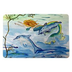 Mermaid and Dolphins Small Door Mat
