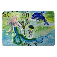 Mermaid and Jellyfish Small Door Mat