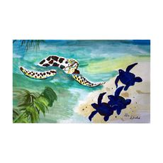 Sea Turtle and Babies Large Door Mat