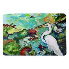 Egret and Waterlilies Small Door Mat