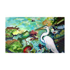 Egret and Waterlilies Large Door Mat