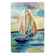 Teal Sailboat Small Door Mat
