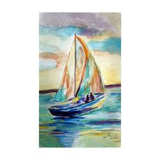 Teal Sailboat Large Door Mat
