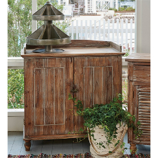 Dry Sink Weathered Wood Cabinet