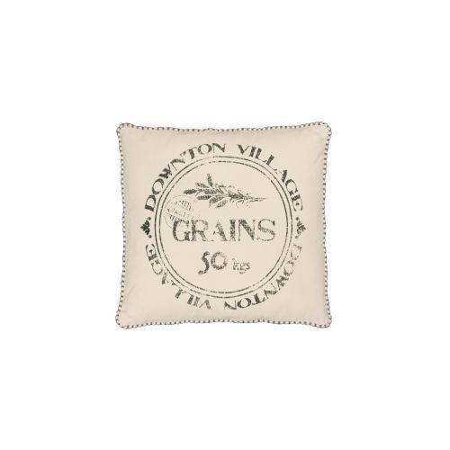 Downton Village Grains Pillow, Cream Iron