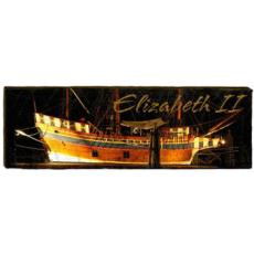 Elizabeth II Ship Wood Art