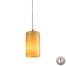 Piedra 1 Light Pendant In Satin Nickel And Genuine Stone - Includes Recessed Lighting Kit
