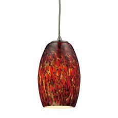 Maui 1 Light Pendant In Satin Nickel And Ember Glass