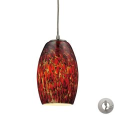 Maui 1 Light Pendant In Satin Nickel And Ember Glass - Includes Recessed Lighting Kit