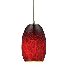 Maui 1 Light Led Pendant In Satin Nickel And Firebrick Glass