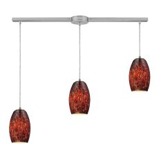 Maui 3 Light Pendant In Satin Nickel And Ember Glass
