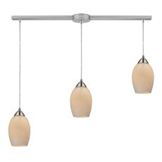 Favela 3 Light Pendant In Satin Nickel And Cocoa Glass