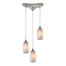 Favelita 3 Light Pendant In Satin Nickel And Cocoa Glass
