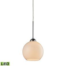 Cassandra 1 Light Led Pendant In Polished Chrome And White Glass