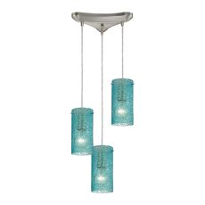 Ice Fragments 3 Light Pendant In Satin Nickel And Aqua Glass