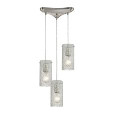 Ice Fragments 3 Light Pendant In Satin Nickel And Clear Glass