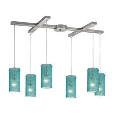 Ice Fragments 6 Light Pendant In Satin Nickel And Aqua Glass