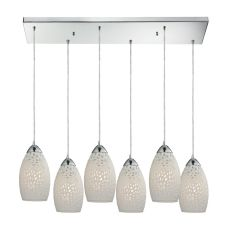 Etched Glass 6 Light Pendant In Polished Chrome And White Etched Glass