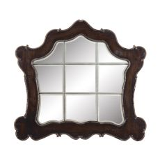 Ornate Heritage Beveled Mirror, Heritage Grey Stain, Textured Champagne