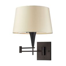 Swingarms 1 Light Swingarm Sconce In Aged Bronze With Beige Shade