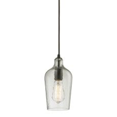 Hammered Glass 1 Light Pendant In Oil Rubbed Bronze And Clear Glass