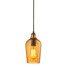 Hammered Glass 1 Light Pendant In Oil Rubbed Bronze And Amber Glass