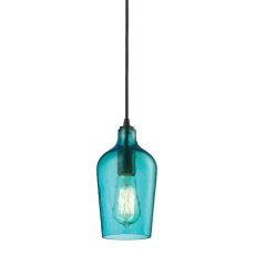 Hammered Glass 1 Light Pendant In Oil Rubbed Bronze And Aqua Glass