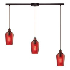 Hammered Glass 3 Light Pendant In Oil Rubbed Bronze And Red Glass