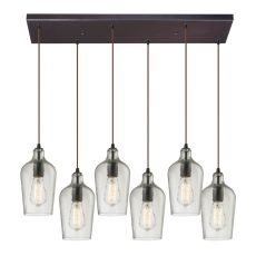 Hammered Glass 6 Light Pendant In Oil Rubbed Bronze And Clear Glass