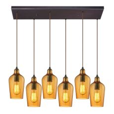 Hammered Glass 6 Light Pendant In Oil Rubbed Bronze And Amber Glass